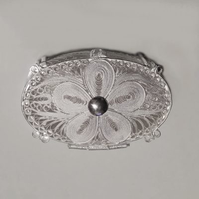 Sterling Silver filigree trinket box Oval 5 petal