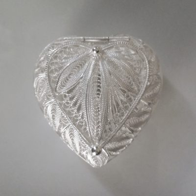 Sterling Silver filigree keepsake box Heart