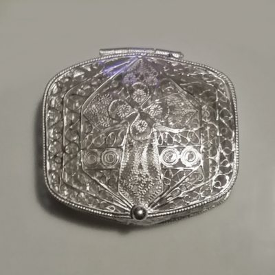 Sterling Silver filigree rosary box Christian Cross