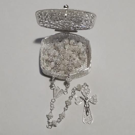 Sterling Silver Filigree Rosary Box Christian Cross