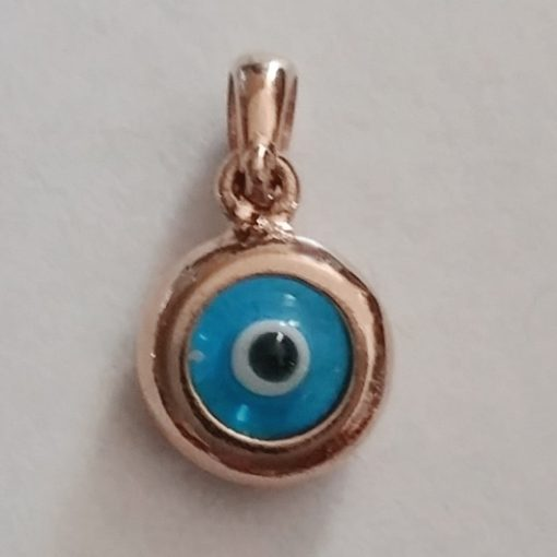 9ct rose Gold double sided Evil Eye charm 9mm