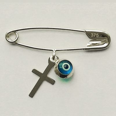 9ct white Gold baby pin brooch Lucky evil eye Cross