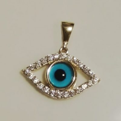 9ct yellow Gold evil eye pendant Marquise zirconia