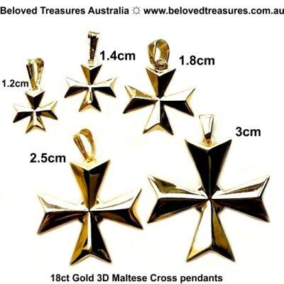 18ct Gold Maltese Cross 3D pendant