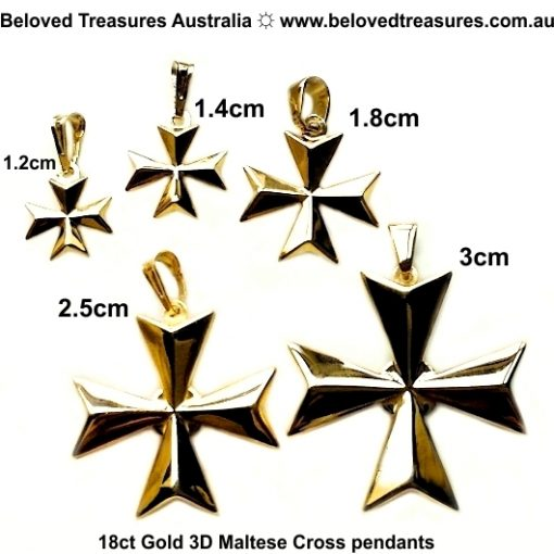 18ct Gold Maltese Cross 3D pendant
