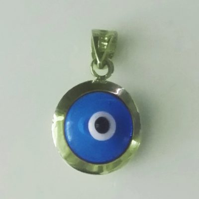 9ct Gold Evil Eye 3D pendant transparent 10mm