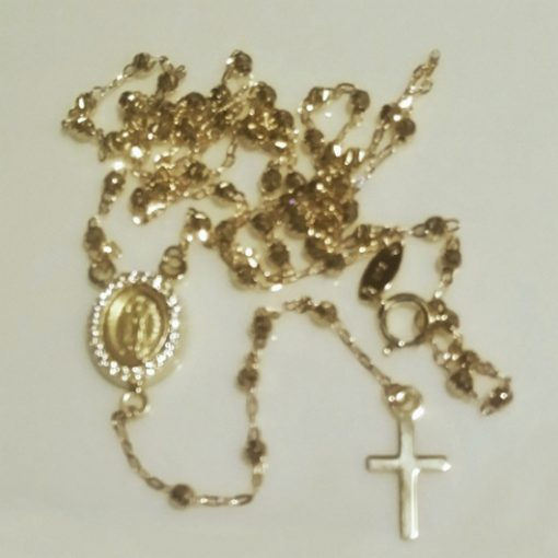 9ct Gold rosary beads necklace diamond cut Guadalupe