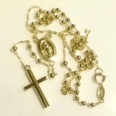 9ct Gold rosary beads necklace Miraculous medal