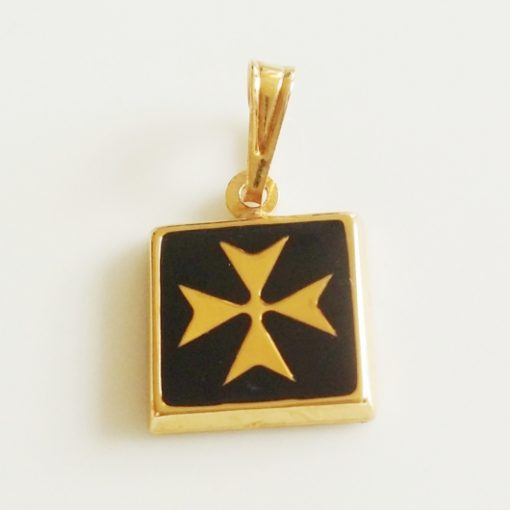 9ct Gold Maltese Cross pendant square Black