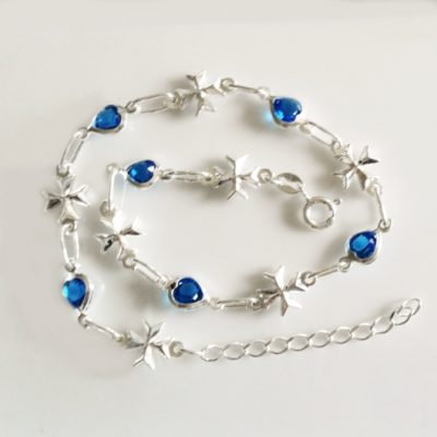 Sterling Silver Anklet Maltese Cross blue hearts
