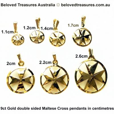9ct Gold Maltese Cross double sided pendants