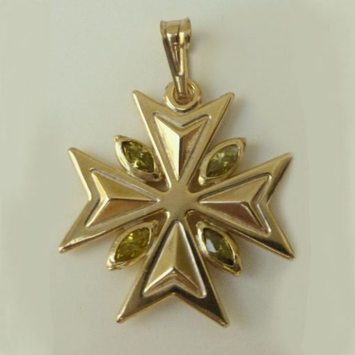 9ct Gold Maltese Cross pendant 1.8cm marquis stones Green light