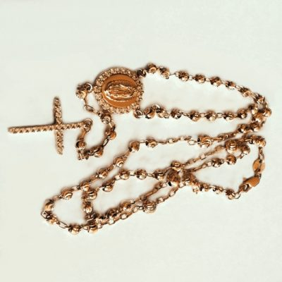 9ct rose Gold rosary diamond cut beads necklace