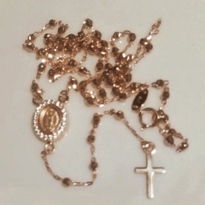 9ct rose Gold rosary beads necklace diamond cut Guadalupe