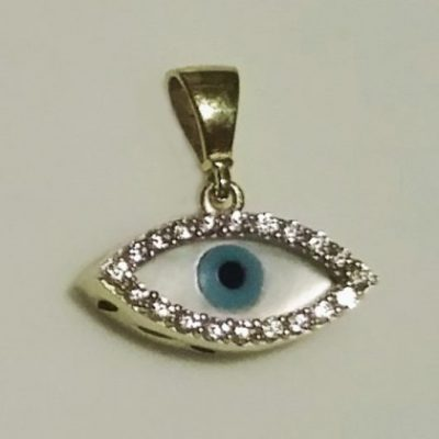 9ct Gold evil eye protection pendant Mother of Pearl