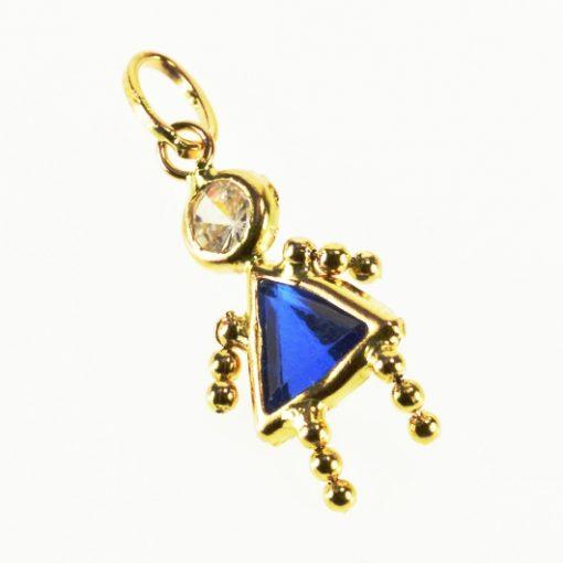 9ct Gold gem baby charm pendant blue