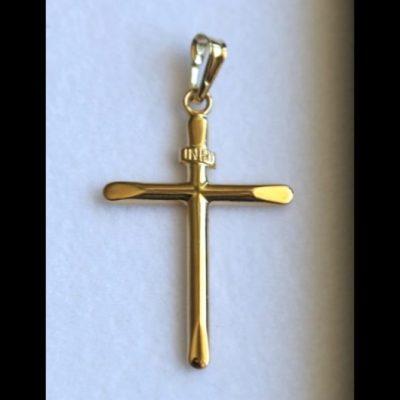 9ct Gold Cross pendant slanted edges
