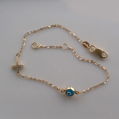 9ct Gold bracelet evil eye mati Cross cz