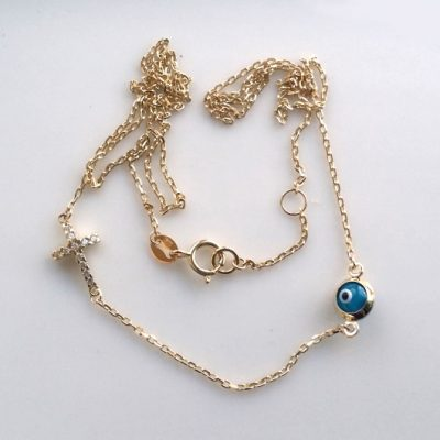 9ct Gold necklace evil eye mati Cross cz
