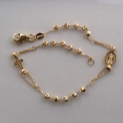 9ct Gold bracelet beads diamond cut Cross Medal