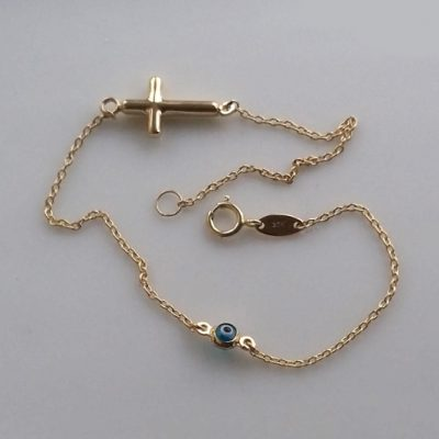9ct Gold bracelet evil eye mati Cross