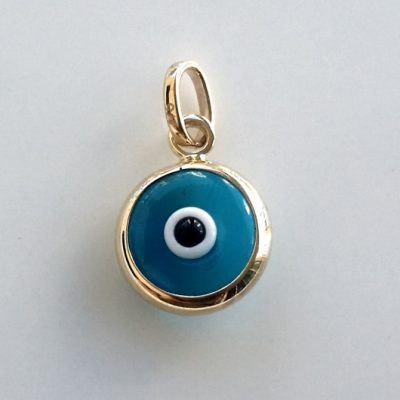9ct Gold double sided Evil Eye charm 9mm