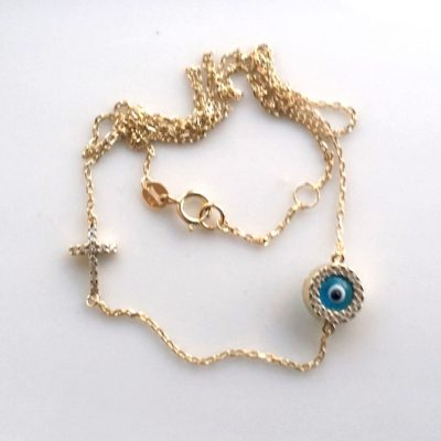 9ct Gold necklace evil eye Cross double sided