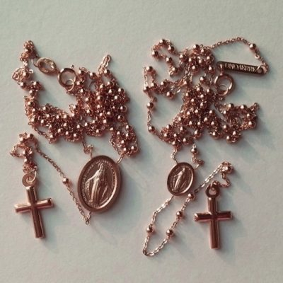 10ct rose Gold rosary beads necklace Italy