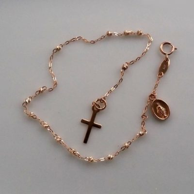 9ct rose Gold bracelet beads diamond cut Cross Medallion