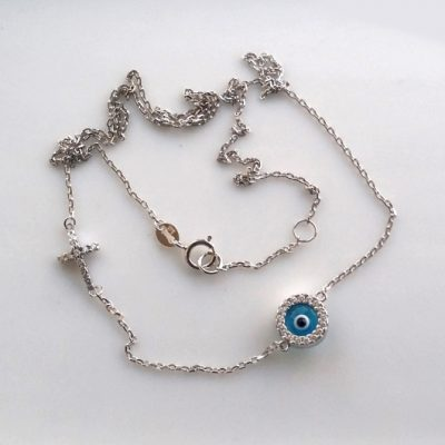 9ct white Gold necklace evil eye Cross double sided