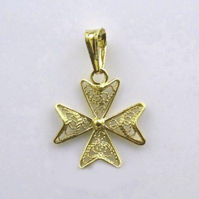 9ct Gold filigree Maltese Cross pendant 1.6cm